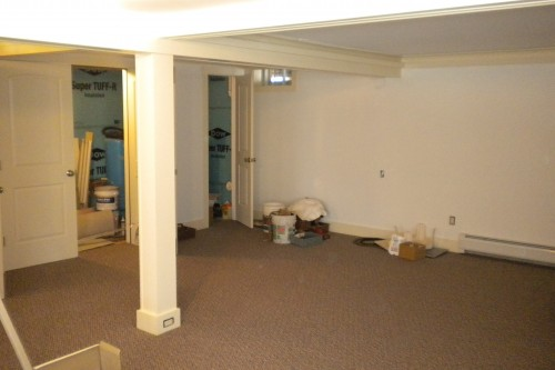waterbury basement during remodeling project by allied contractors