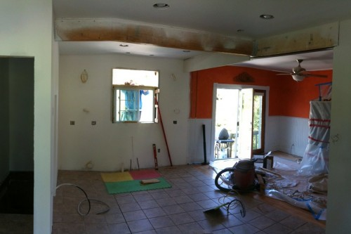 A photo of a Barre kitchen and dining area during the remodeling project stripped to studs by Allied Building contractors