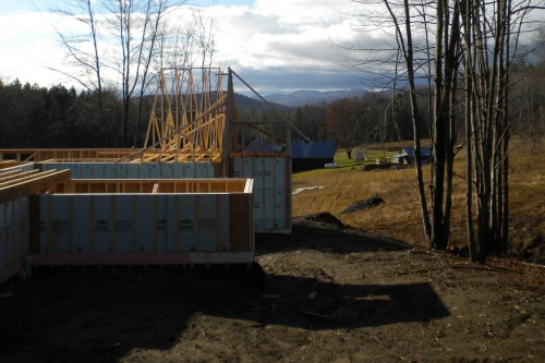 Foundation and wall section during new home build process in central vermont by allied contractors