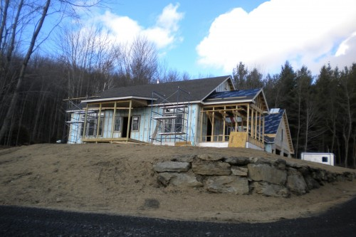 incomplete structure and walls during central vermont home build process by allied contractors
