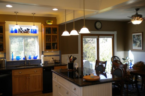 Looking towards a bright window in a kitchen in Barre Vermont after a completed remodeling project by Allied Building contractors
