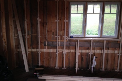 Interior room of central vermont home during complete home remodeling project