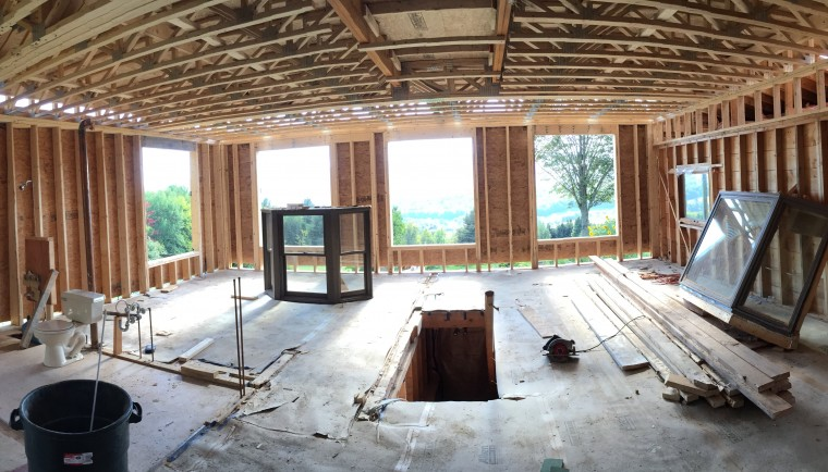 During the remodeling process, a framed second story living area
