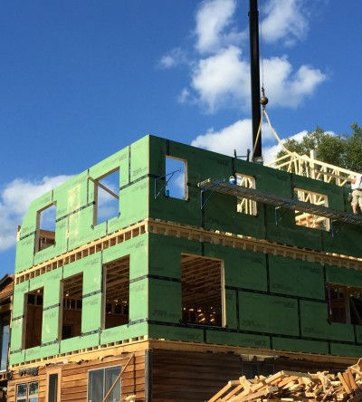 A photo of a second story addition to a central vermont farmhouse with green insulation