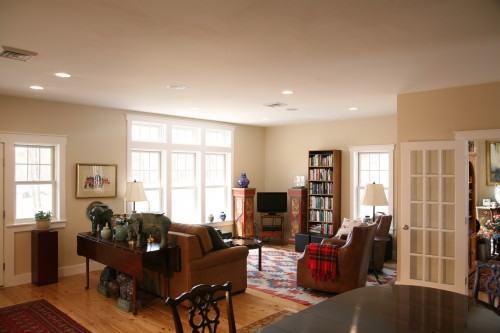 bright furnished living area with green efficient windows in central vermont build project by allied contractors