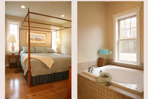 split image of bedroom and bedroom after central vermont home remodeling project by allied contractors