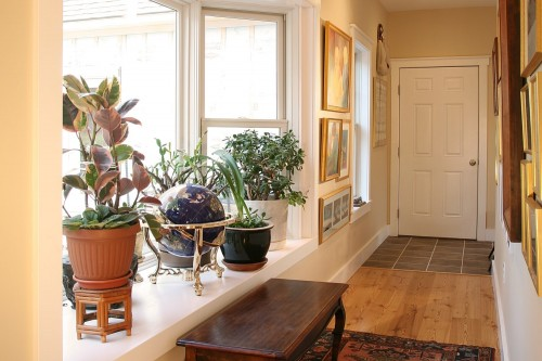 Hallway with plants and track lighting and green efficient windows by central vermont home builders allied contractors