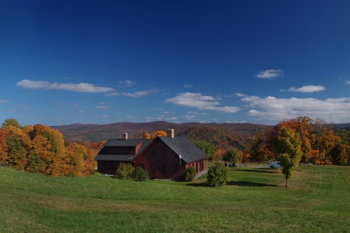 View of central vermont countryside from house remodeling project