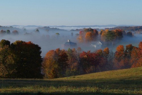 Misty valley in central vermont seen from home remodeling project